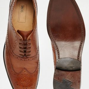 ASOS Oxford Brogue Shoes in Tan Leather