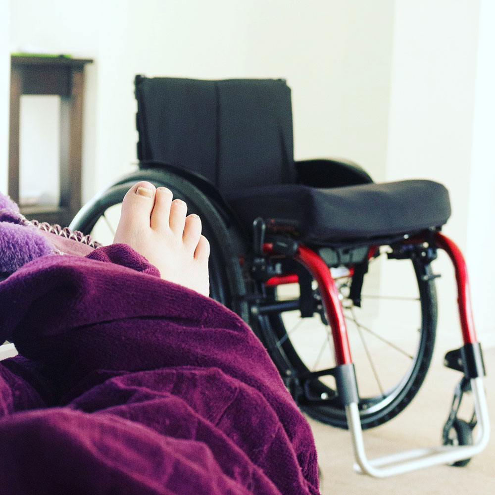 selfie of foot and wheelchair
